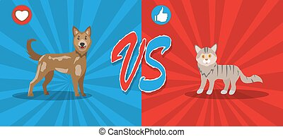 Dogs vs cats concept. Background with cute pets. Fight ...