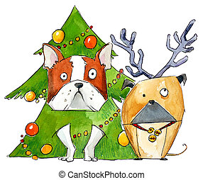 Dogs wearing Christmas costumes