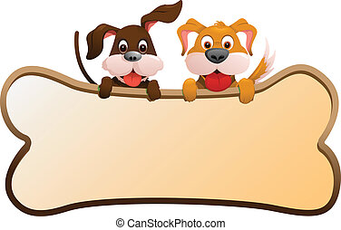 Dogs with banner - A vector illustration of two dogs holding...