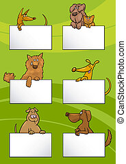 Cartoon Illustration of Cute Dogs or Puppies with White Cards or Boards Greeting or Business Card Design Set