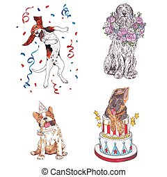 Dogs with congratulations. - Dogs of different breeds...