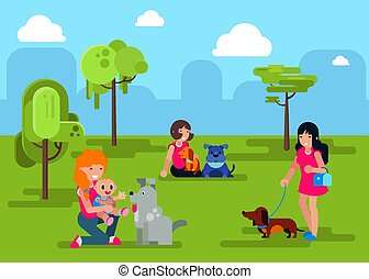 Dogs with people walking in city park vector illustration. Cartoon pets domestic animals, girls women in park together.