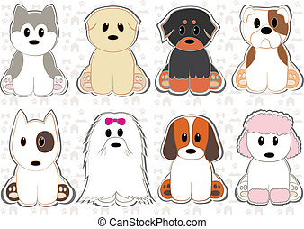 Cute dogs of different breeds