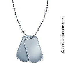 Dog Tags made of blank metal with beaded necklace isolated on white as a symbol of the American military identification of soldiers in a combat zone for emergency medical attention for wounded and fallen heroes.