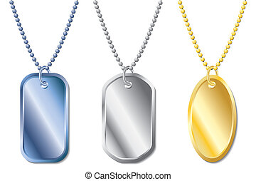 Dogtag set of three with different shapes and colors