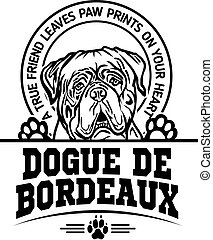 Dogue de Bordeaux Dog Set Happy Face Paw Puppy Pup Pet Clip Art K-9 Cop Police Logo SVG PNG Clipart Vector Cricut Cut Cutting - vector illustration for t-shirt, logo and template badges in monochrome style