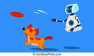 dogwalker, perro, robot, ilustración, aislado, vector., ...