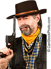 dohányzó, amerikai, szivar, cowboy