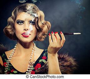 dohányzó, retro, nő, portrait., szépség, leány, noha, szopóka