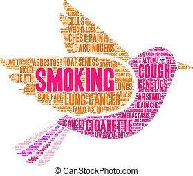 dohányzó, szó, felhő