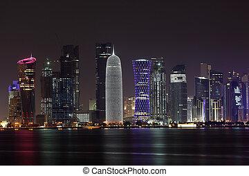 doha, 中央, スカイライン, 東, 夜, qatar