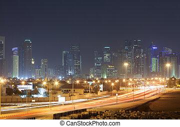doha, 都市 スカイライン, 夜で