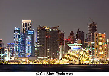 doha, 都市 スカイライン, 夜で, qatar