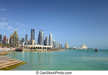 doha, bahía, arabia, qatar, a través de, vista