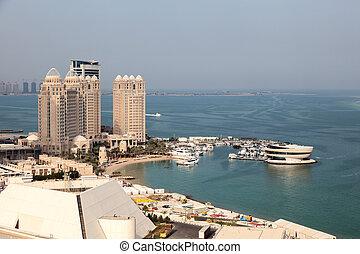 doha, bahía, qatar, edificios, oeste, puerto