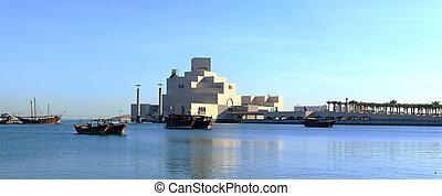 Doha bay and museum at dawn