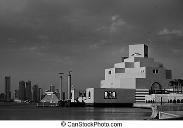 A view across Doha Bay from the Corniche to the Museum of Islamic Art and the emerging skyline beyond (November 2008)