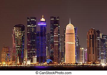 doha, centro cidade, meio, skyline, leste, night., qatar