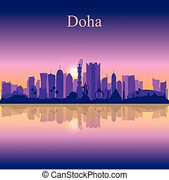 Doha city silhouette on sunset background
