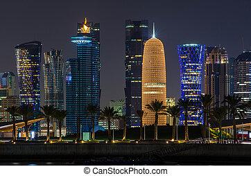 Doha city skyline at night