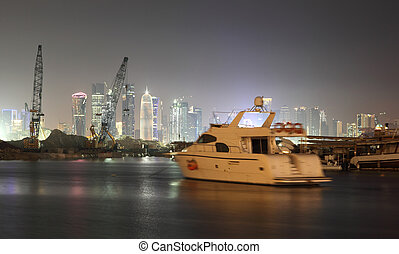 Doha city skyline at night, Qatar, Middle East