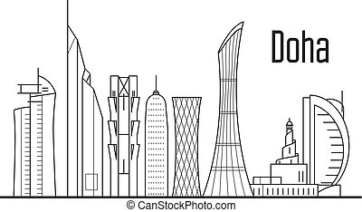 Doha city skyline - downtown cityscape, Qatar landmarks in liner style