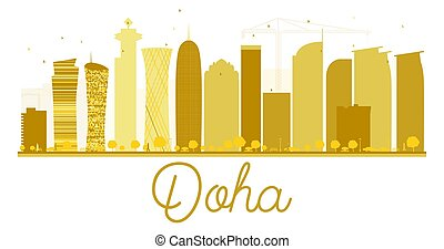 Doha City skyline golden silhouette. Vector illustration. Simple flat concept for tourism presentation, banner, placard or web site. Business travel concept. Cityscape with landmarks