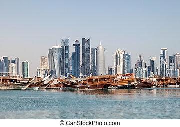 Doha city skyline, Qatar - Doha city skyline with the old...
