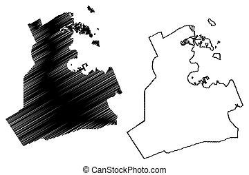 Doha City (State of Qatar, Ad-Dawhah municipality) map ...