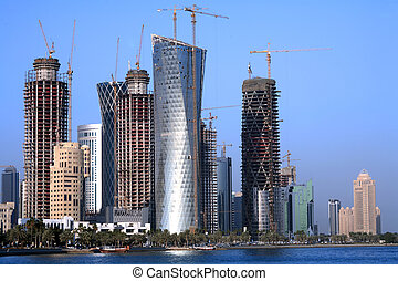 Doha construction boom - A view of towers unders ...