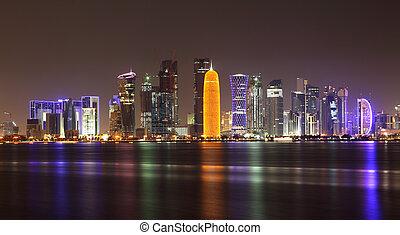 doha, contorno, por la noche, qatar, medio oriente