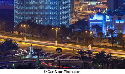Doha Corniche with coffee pot monument night timelapse....