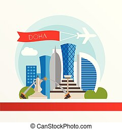 Doha, detailed silhouette. Trendy vector illustration, flat style. Stylish colorful landmarks. The concept for a web banner. Doha Corniche - The symbol of Qatar.