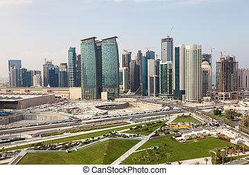 Doha Diplomatic Area, Qatar - View over the Doha downtown ...