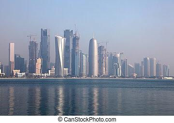 doha, distrito, centro cidade, meio, skyline, dafna., leste...