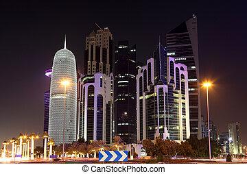 Doha downtown Al Dafna at night. Qatar, Middle East