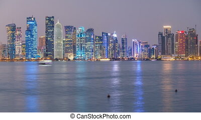 Doha downtown skyline day to night timelapse, Qatar, Middle...