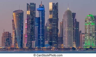 Doha downtown skyline day to night timelapse, Qatar, Middle East