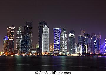doha, medio, contorno, este, noche, qatar
