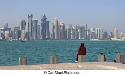 Doha Modern City Skyline Day Shot, Qatar, Middle East....