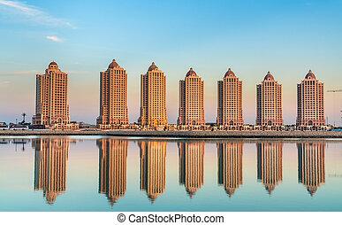 doha, perla, residencial, qatar, artificial, edificios, isla