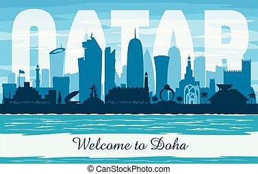 Doha Qatar city skyline vector silhouette