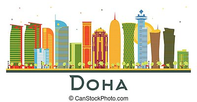 Doha Qatar City Skyline with Color Buildings Isolated on ...