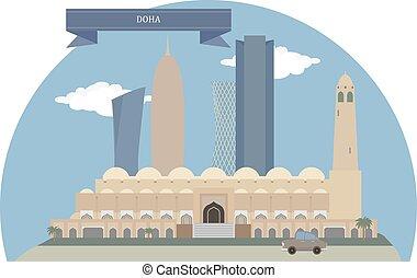 Doha, Qatar - Doha, capital city and most populous city of...