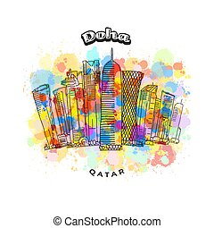 Doha Qatar colorful skyline