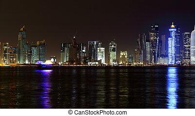 Doha, Qatar. Night skyline