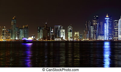 Doha, Qatar. Night skyline