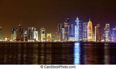 Doha, Qatar. Night skyline.