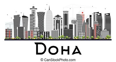 Doha Qatar Skyline with Gray Buildings Isolated on White Background.