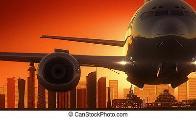 Doha Qatar Take Off Skyline Golden Background